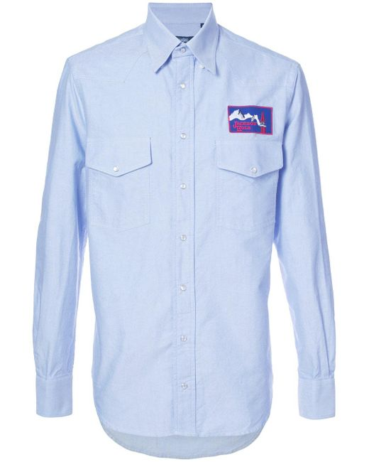 Gitman Brothers Vintage Logo Embroidered Shirt In Blue For