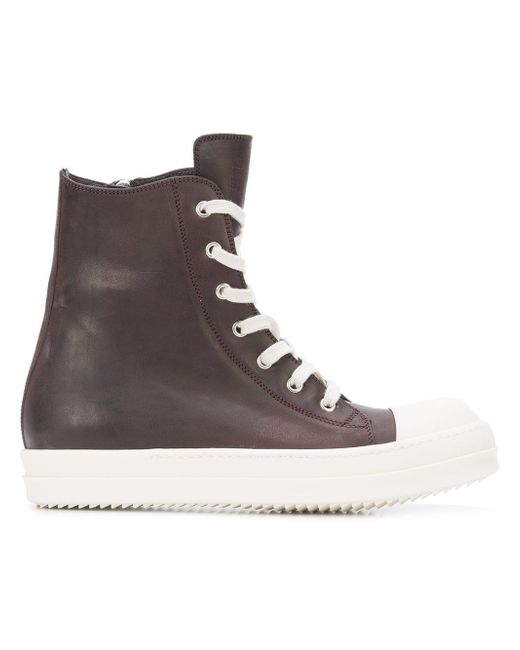 Rick Owens | Brown Lace-up Hi Tops for Men | Lyst