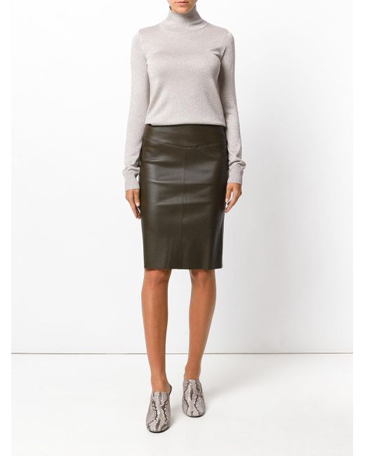 joseph fitted leather skirt in brown lyst