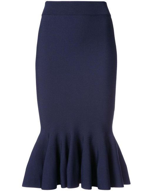 jonathan simkhai fluted ribbed knit midi skirt in blue
