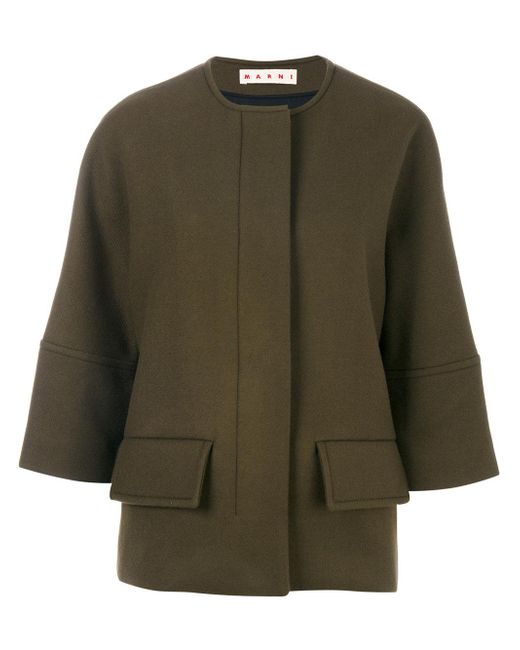 Marni | Green Cropped Sleeve Jacket | Lyst