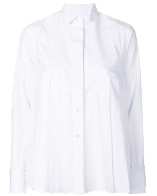 Sacai | White Pleated Shirt | Lyst