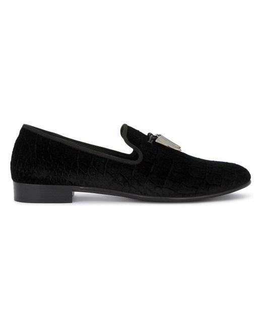Giuseppe Zanotti | Black Crocodile Embossed Loafers for Men | Lyst