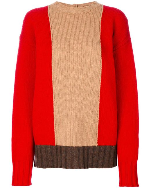 Marni | Red Oversized Colour Blocked Sweater | Lyst