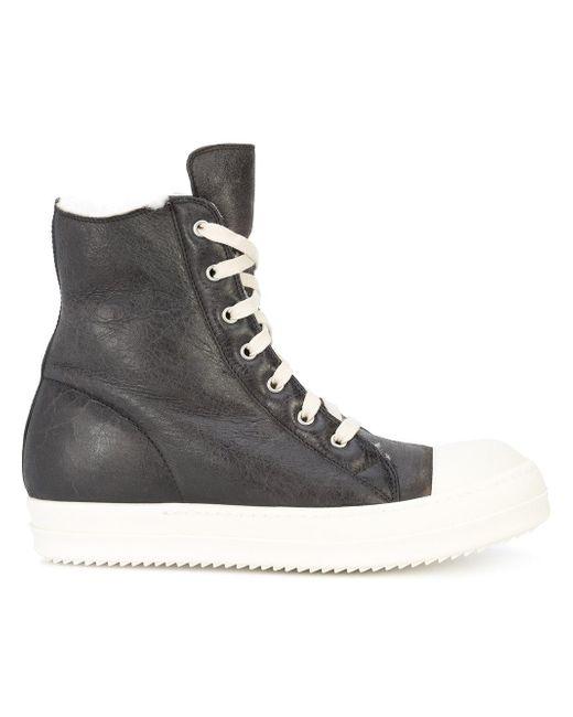 Rick Owens   Black Shearling Ramone Sneakers for Men   Lyst