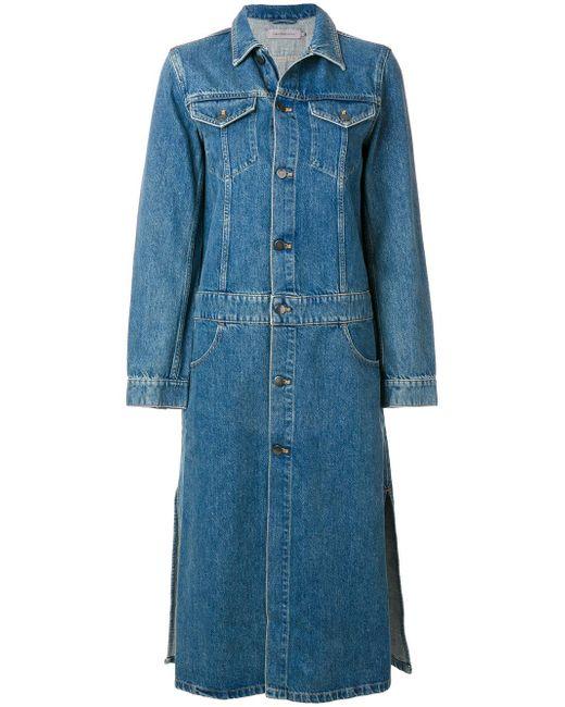 Calvin Klein   Blue Long Denim Jacket   Lyst