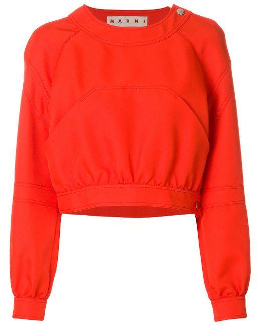 Marni   Orange Cropped Pocket Detail Sweatshirt   Lyst