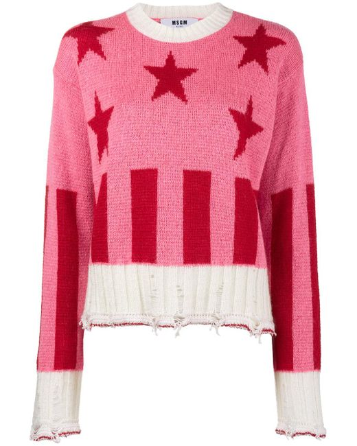MSGM | Pink Stars And Stripes Sweater | Lyst