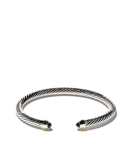 David Yurman - Metallic Cable Classics Sterling Silver, Onyx & 14kt Yellow Gold Accented Cuff Bracelet - Lyst