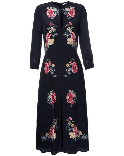 Vilshenko | Black Silk Floral Print Dress | Lyst