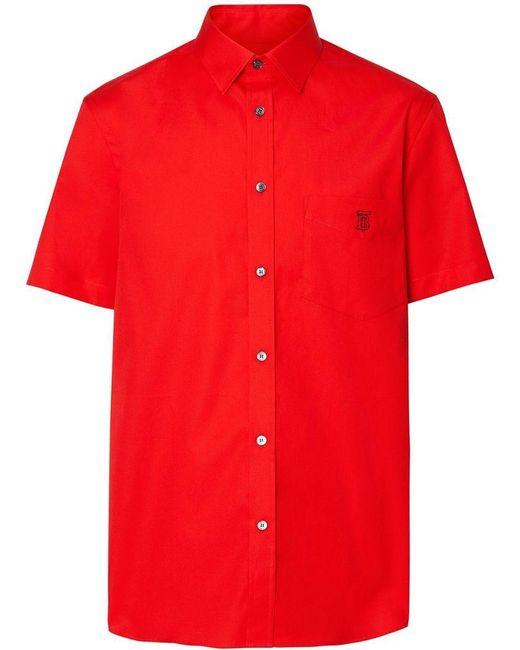 Burberry - Red Monogram Motif Short-sleeve Shirt for Men - Lyst