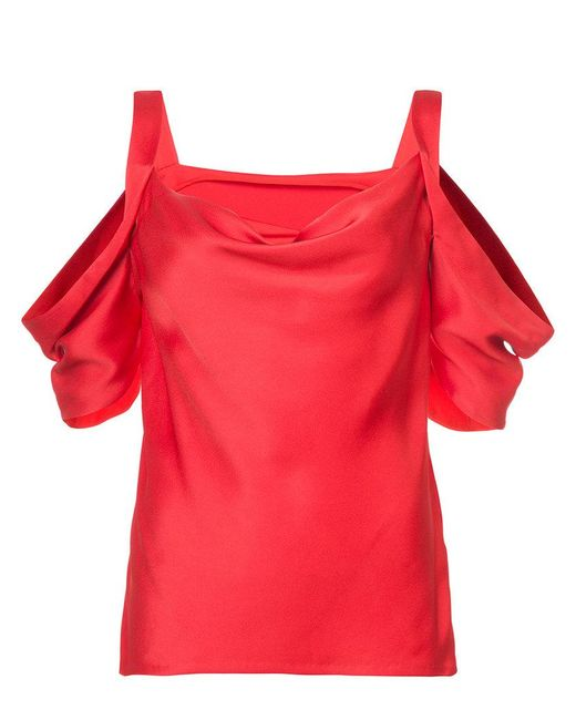Jason Wu - Red Cold Shoulder Blouse - Lyst