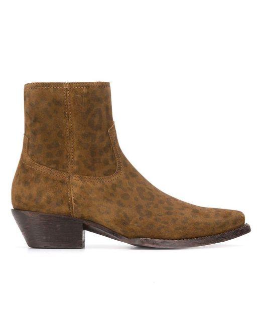 Saint Laurent Brown Lukas Western Boots
