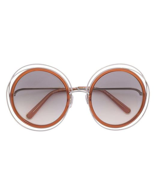 Chloé - Orange 'carlina' Sunglasses - Lyst