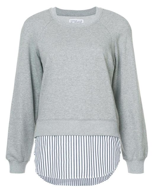 10 Crosby Derek Lam | Gray Crewneck Sweatshirt With Shirt Hem | Lyst