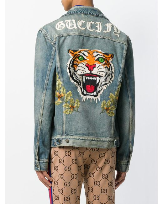 9bb640904aec5 Lyst - Gucci Tiger-embroidered Denim Jacket in Blue for Men - Save 30%