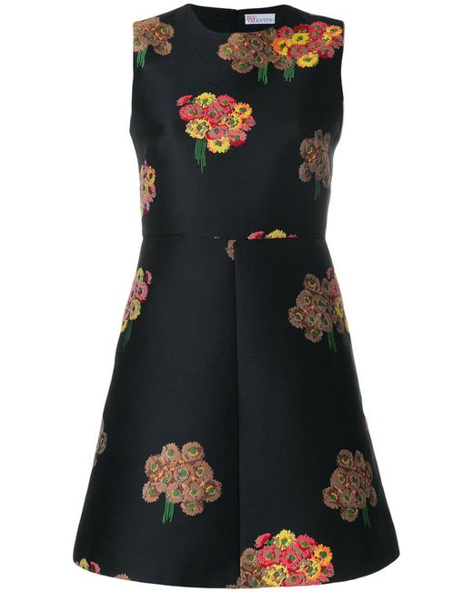 RED Valentino | Black Floral Jacquard Mini Dress | Lyst