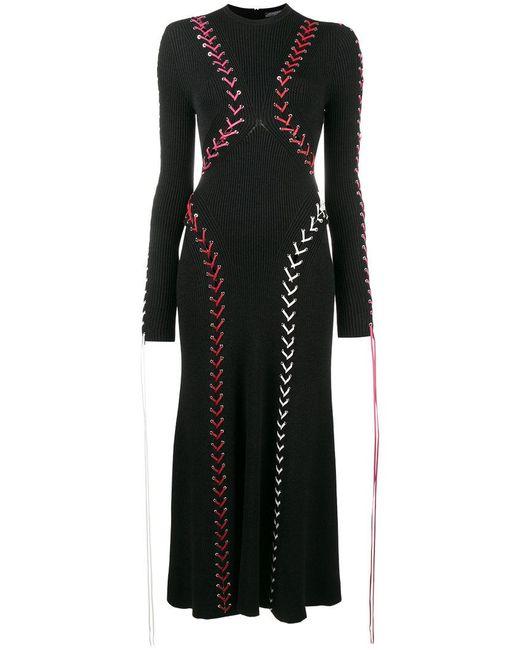 Alexander McQueen - Black Knitted Tie Detail Dress - Lyst