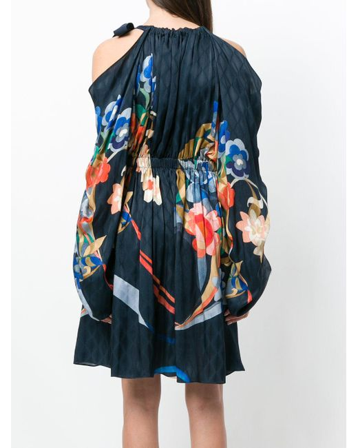 957d7bcd8 Fendi Cold-shoulder Floral Dress in Blue - Save 52% - Lyst