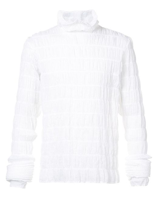 Y. Project - White Ruffle Roll Neck Top - Lyst