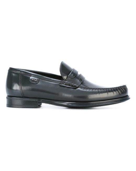 Dolce & Gabbana | Gray Brushed Leather Moccasins for Men | Lyst