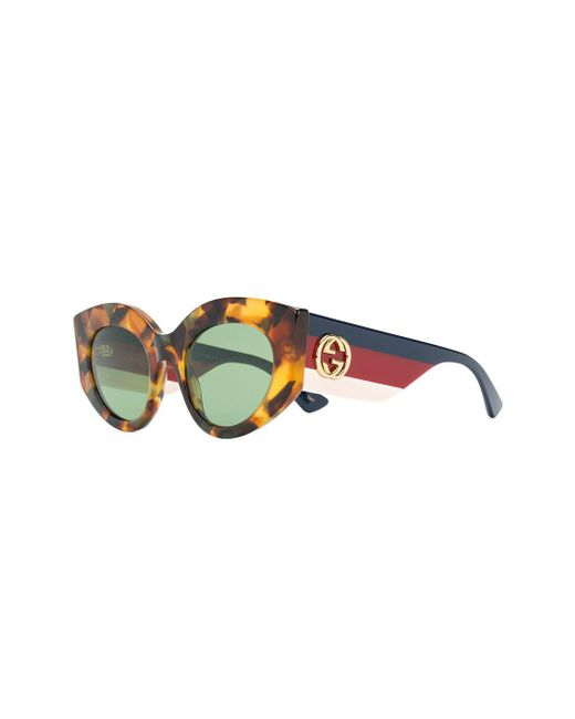 53068d897a ... Gucci - Brown Tortoise Shell Effect Sunglasses - Lyst ...