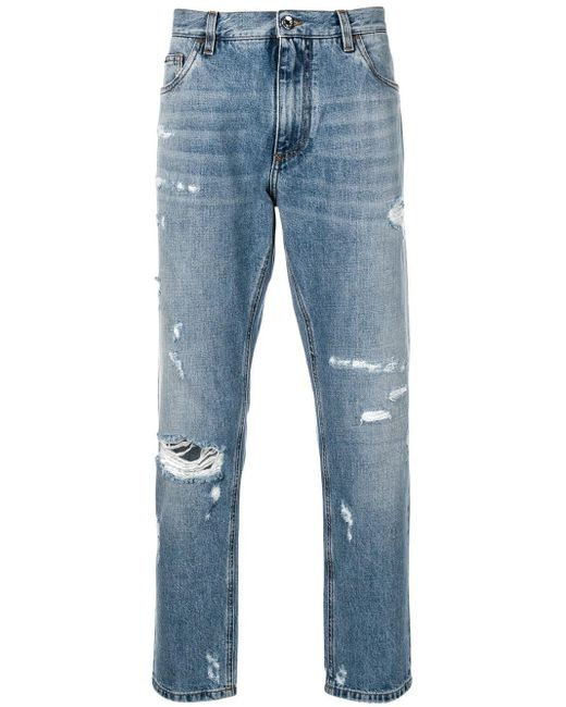 Dolce & Gabbana - Blue Distressed Tapered Jeans for Men - Lyst
