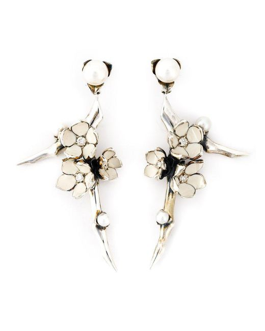 Shaun Leane - White 'cherry Blossom' Diamond Earrings - Lyst