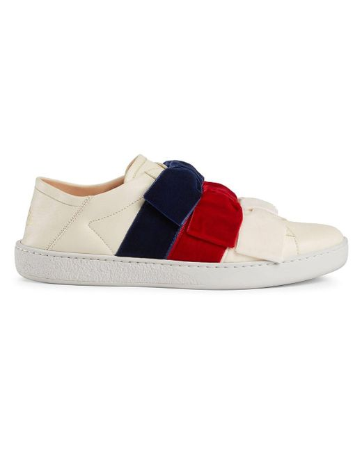 3d6c370c4 Gucci - White Ace Sneaker With Velvet Bows - Lyst ...