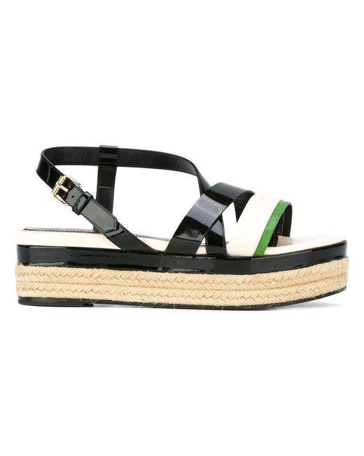 Lanvin | Black Strap Detail Wedge Sandals | Lyst