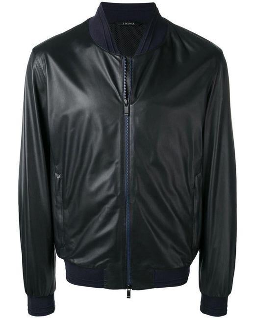 e37d211b640 Z Zegna - Black Leather Bomber Jacket for Men - Lyst ...