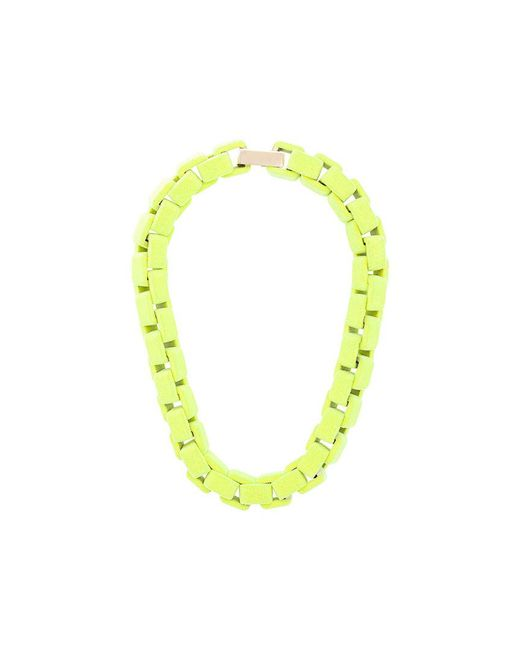 Wanda Nylon - Green Flocked Chain Choker Necklace - Lyst