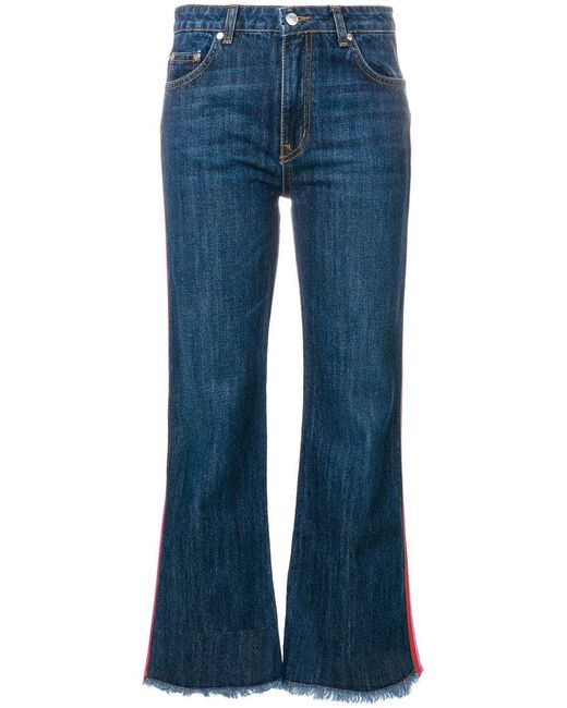 MSGM - Blue Cropped Flare Jeans - Lyst