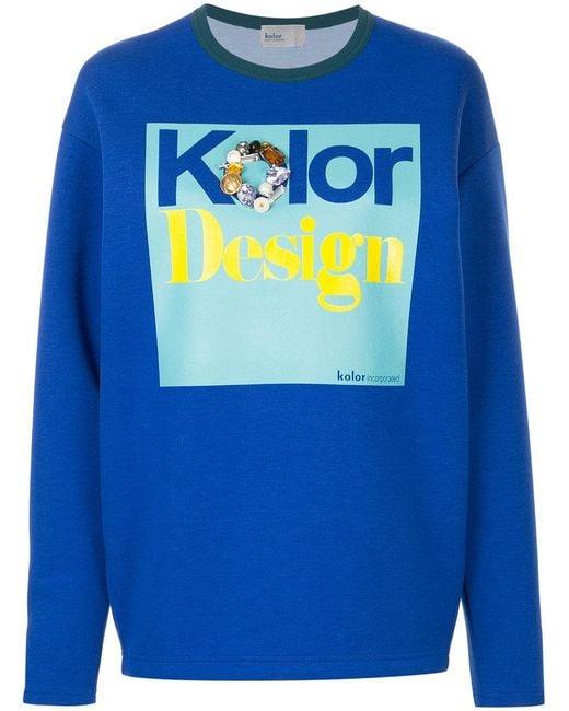 Kolor - Blue Embellished Print Sweatshirt - Lyst