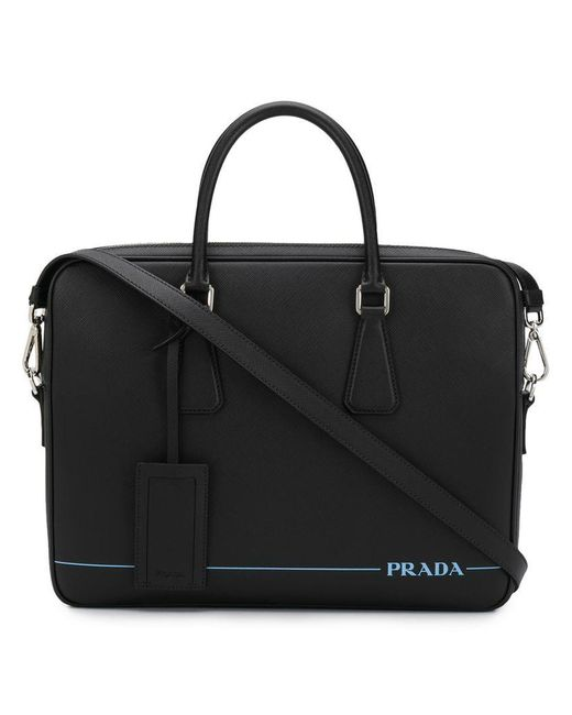6a5ab734ada2 Prada - Black Contrast Logo Laptop Bag for Men - Lyst ...