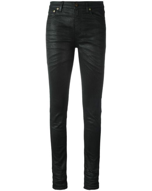 Saint Laurent - Black Skinny Fit Coated Jeans - Lyst