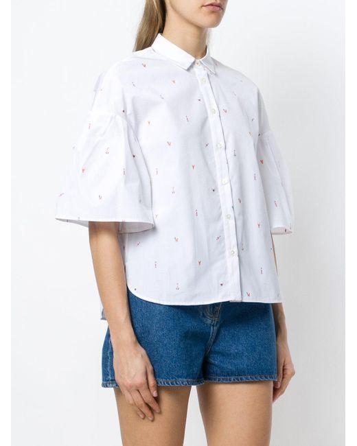manga acanalada de blanca Chinti Parker camisa 8CnqwCvZ