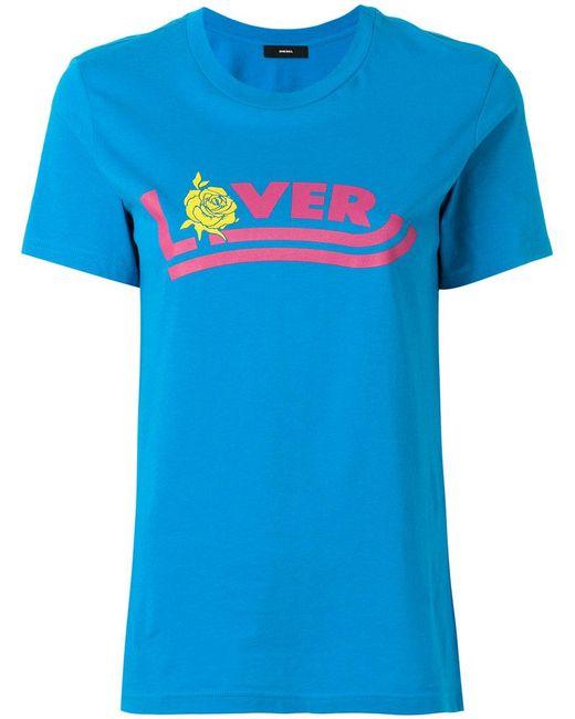 DIESEL - Blue Slogan-print T-shirt - Lyst
