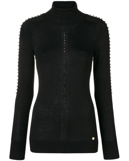 Versace - Black Turtle-neck Studded Sweater - Lyst
