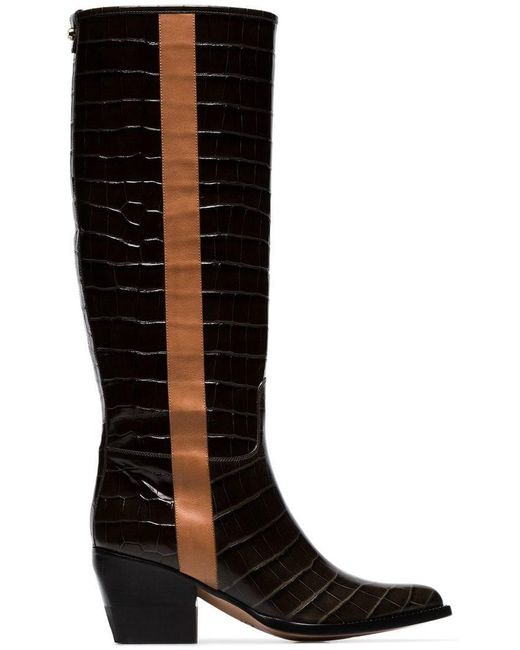4da5364a3af Chloé - Green Coffee Brown 60 Knee High Leather Boots - Lyst ...