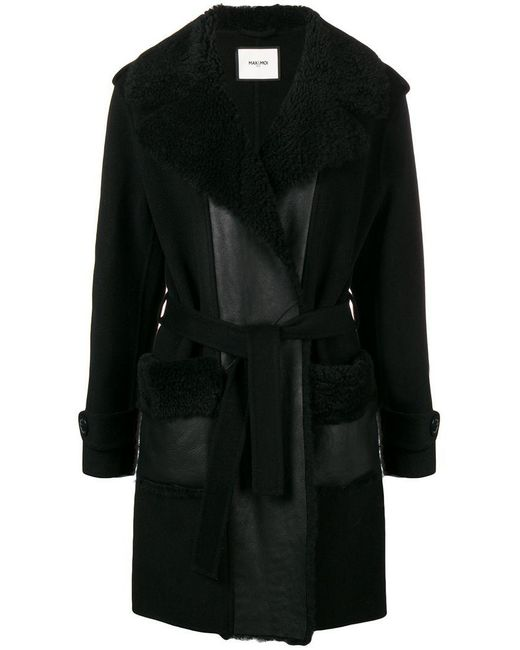 Max & Moi - Black Shearling Collar Belted Coat - Lyst