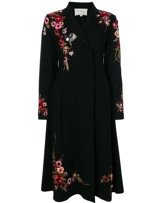 Amen | Black Floral Embroidered Concealed Double Breasted Coat | Lyst