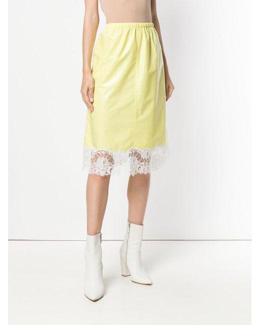 amarillo Lyst Klein detalle con falda encaje Calvin 205w39nyc de qBAZxR0Zvw