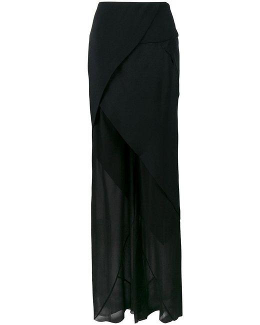 Kitx - Black Sheer Trousers With Asymmetric Skirt - Lyst