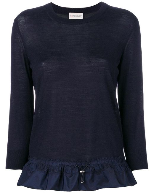Moncler - Blue Pleated Hem Knitted Top - Lyst