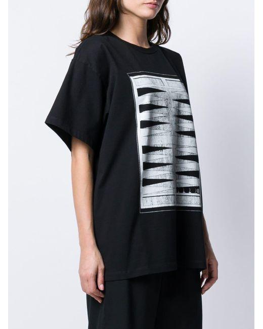 530d3616 ... MM6 by Maison Martin Margiela - Black Backgammon Print T-shirt - Lyst  ...