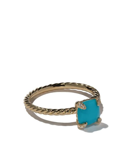 David Yurman - Multicolor 18kt Yellow Gold Châtelaine Turquoise And Diamond Ring - Lyst