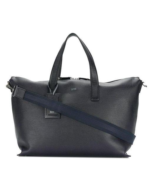 76d84f5bf318 BOSS - Blue Logo Holdall Bag for Men - Lyst ...
