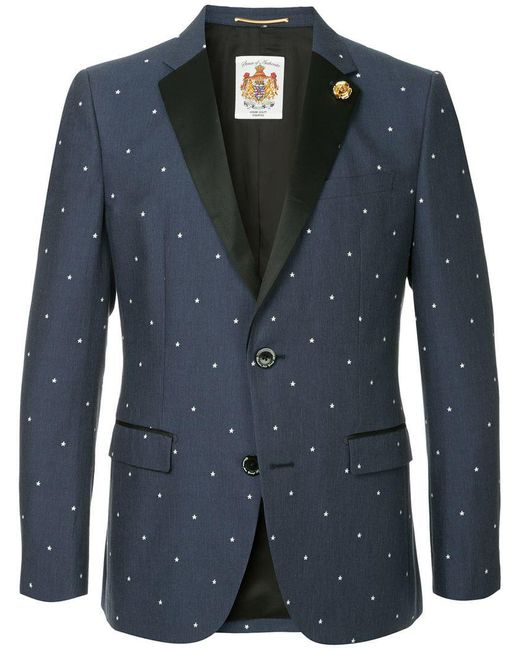 Education From Youngmachines - Blue Stars Embroidered Blazer for Men - Lyst