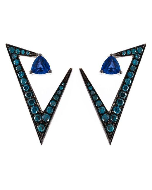 Nikos Koulis - Blue Geometric Sapphire And Diamond Earrings - Lyst